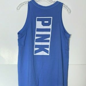 PINK Soft Knit Tank Top Loose Fit Blue Medium